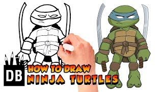How to Draw Teenage Mutant Ninja Turtle Leonardo | 4 kids