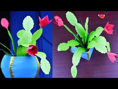 DIY Paper Realistic Cactus Plant   Easy To Make Origami Christmas Cactus   Paper Flower Craft