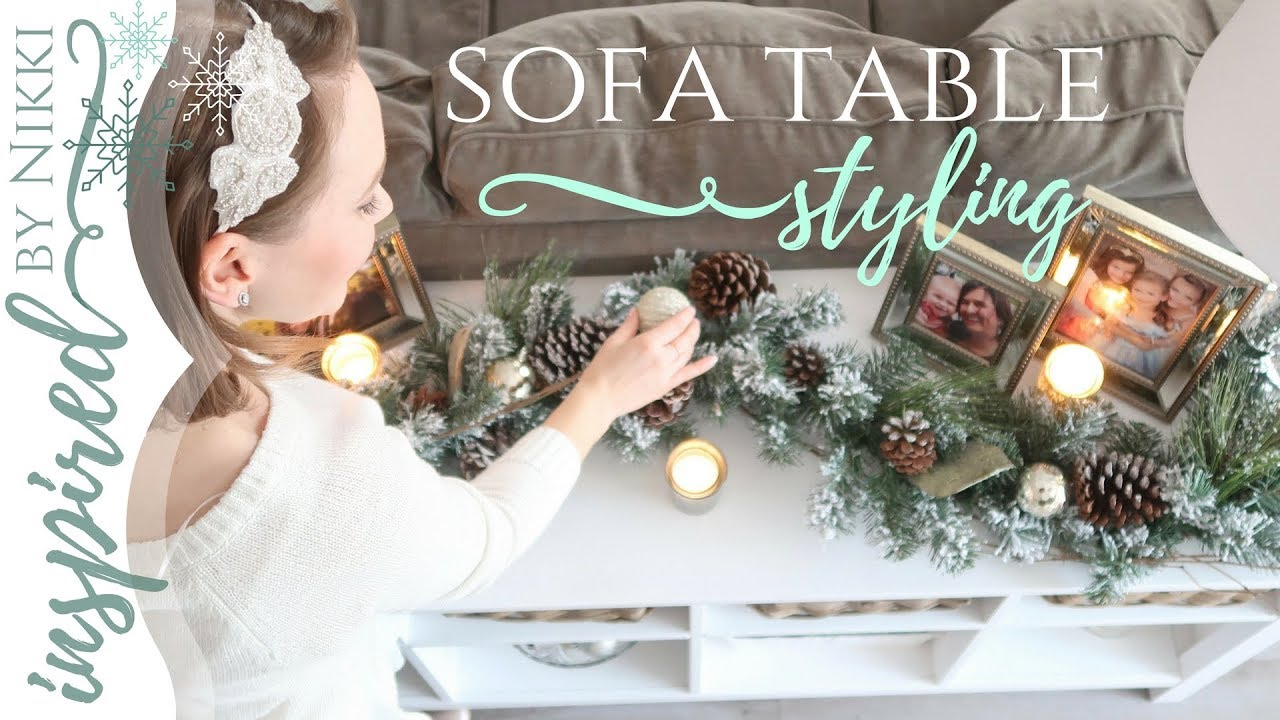 2017 christmas diy decor challenge sofa table styling - Christmas Decorations For Sofa Table