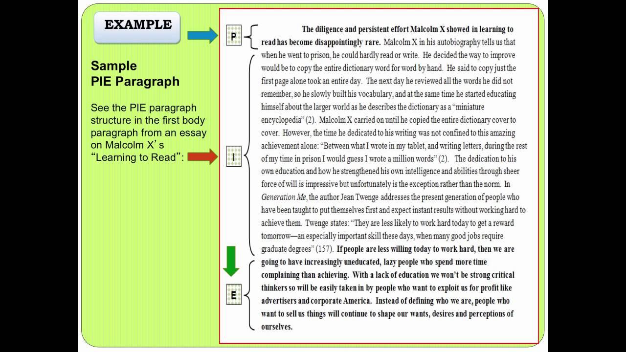 pie paragraph structure
