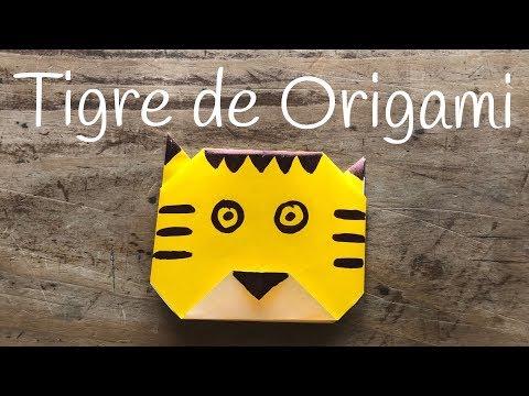 Origami de animales cara de tigre