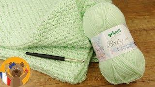 Crocheter une couverture pour bébé 70x90cm   Super simple à crocheter   Instructions pour débutants