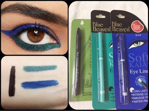 Blue Heaven Soft kajal Blue Green Eyeliner  | Black Sketch Eyeliner Review