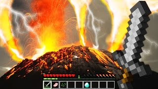 REALISTIC VOLCANO ERUPTION (FIRE TORNADO) IN MINECRAFT  | Minecraft - Mod Battle Challenge