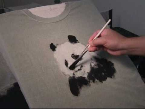 Painting panda on t shirt in acrylic paints youtube for How to paint on t shirt