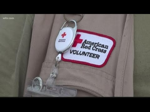 Red Cross volunteers help during Hurricane Dorian