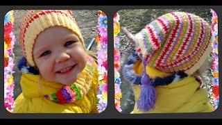 весенняя, детская шапка крючком, или как использовать остатки пряжи(Вам понадобится: остатки разноцветной пряжи ( примерно 50- 70 гр), крючок № 2 Подписывайтесь на канал Ставьте..., 2015-11-16T04:39:56.000Z)