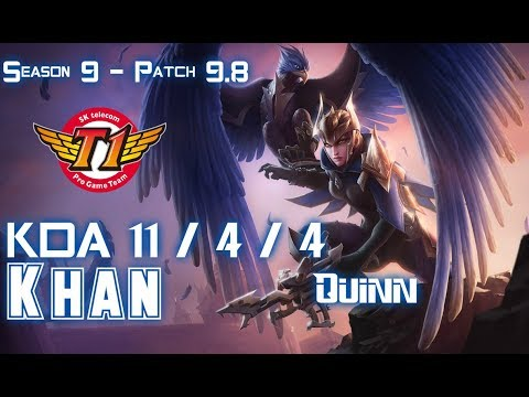 SKT T1 Khan QUINN vs DARIUS Top - Patch 9.8 KR Ranked
