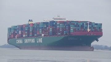 CSCL INDIAN OCEAN Havarie auf der Elbe! Huge Containership stuck on Elbe river!