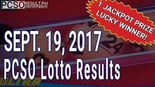 PCSO Lotto Results Today September 19, 2017 (6/58, 6/49, 6/42, 6D, Swertres & EZ2)