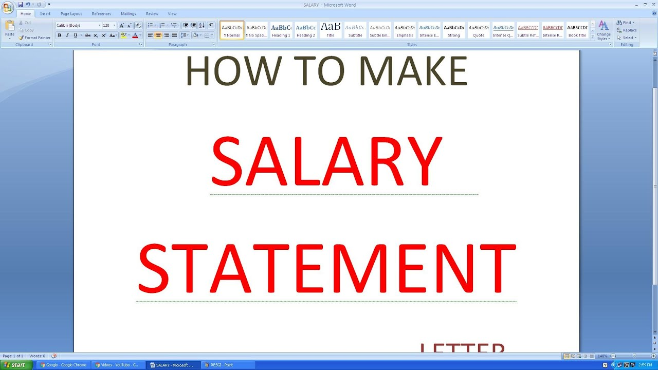 How to write a salary statement in ms excel l basic salary l pf l youtube premium thecheapjerseys Gallery