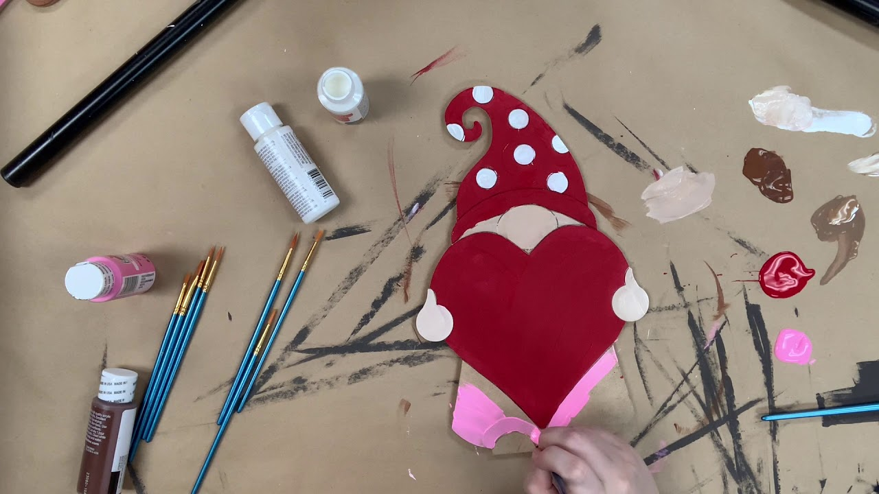 Gnome Holding Heart Valentine's Paint Kit, DIY Wood Cutout, Video Tutorial