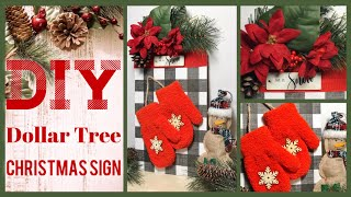 DIY Dollar Tree Christmas Black & White Buffalo Check Sign - Farmhouse Christmas Decor Ideas 2019