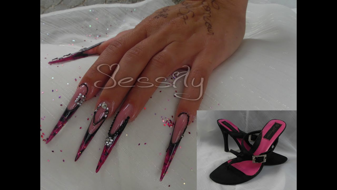 ongle en gel stilletto concours talon aiguille lady so nail avec nailangel youtube. Black Bedroom Furniture Sets. Home Design Ideas