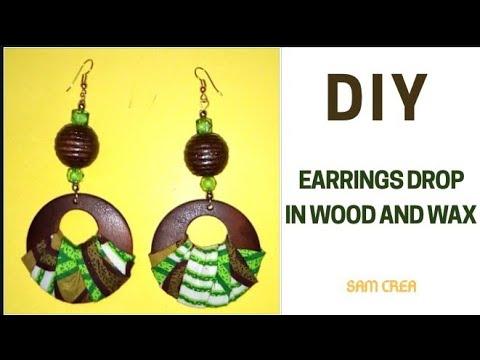 💖TUTO BOUCLES D'OREILLES EN PERLES ET WAX💗 /// DIY EARRINGS DROP IN WOOD AND WAX (Asa inspired💃)