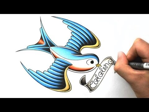 How to Draw a Swallow - Tattoo Design Style