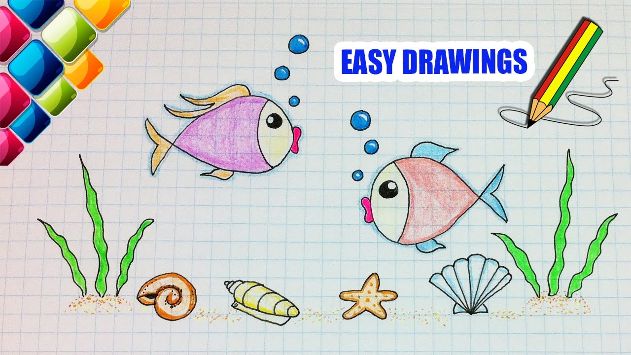 Easy drawings #274 Drawing fish in the sea / drawing for ...