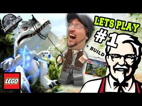 Lets Play LEGO Jurassic World Part 1:  KFC is DINOSAUR MEAT! (FGTEEV GAMEPLAY) w/ Gallimimus Trap