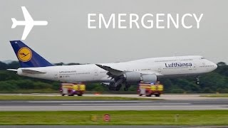 *EMERGENCY* Lufthansa B747-8 Emergency Landing Runway 23L at Manchester Airport