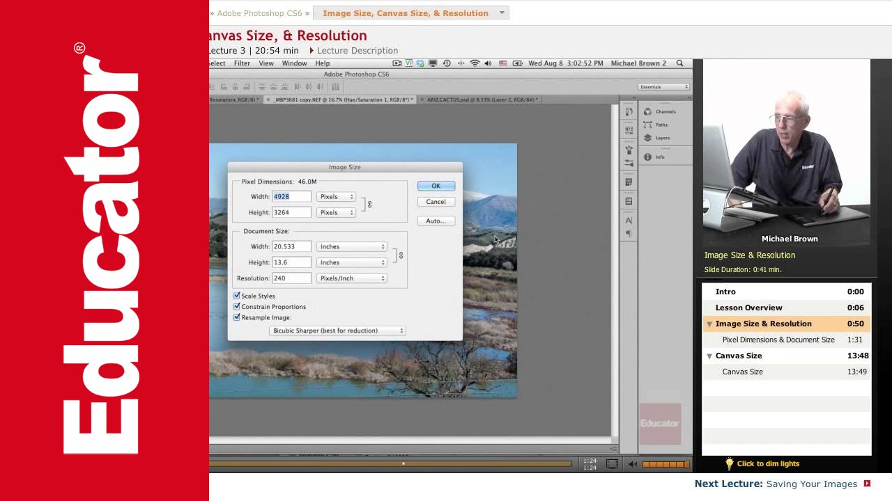 Image Size Canvas Size Resolution Adobe Photoshop Cs6 With Educator Com Youtube