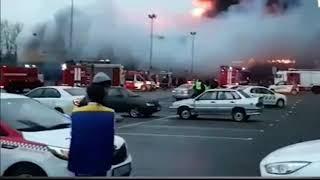 Пожар в гипермаркете Лента в Санкт Петербурге В Питере