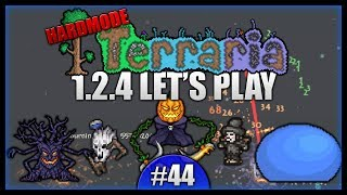 King Slime! Corruption Chest! The Pumpkin Moon! || Let's Play Terraria 1.2.4 [episode 44]
