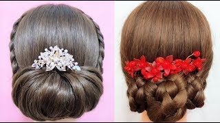 Top bun hairstyles for medium hair -  Beautiful hairstyles compilation 2019