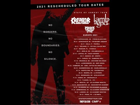 Lamb Of God, Kreator and Power Trip's new dates European/UK 'State Of Unrest Tour' 2021