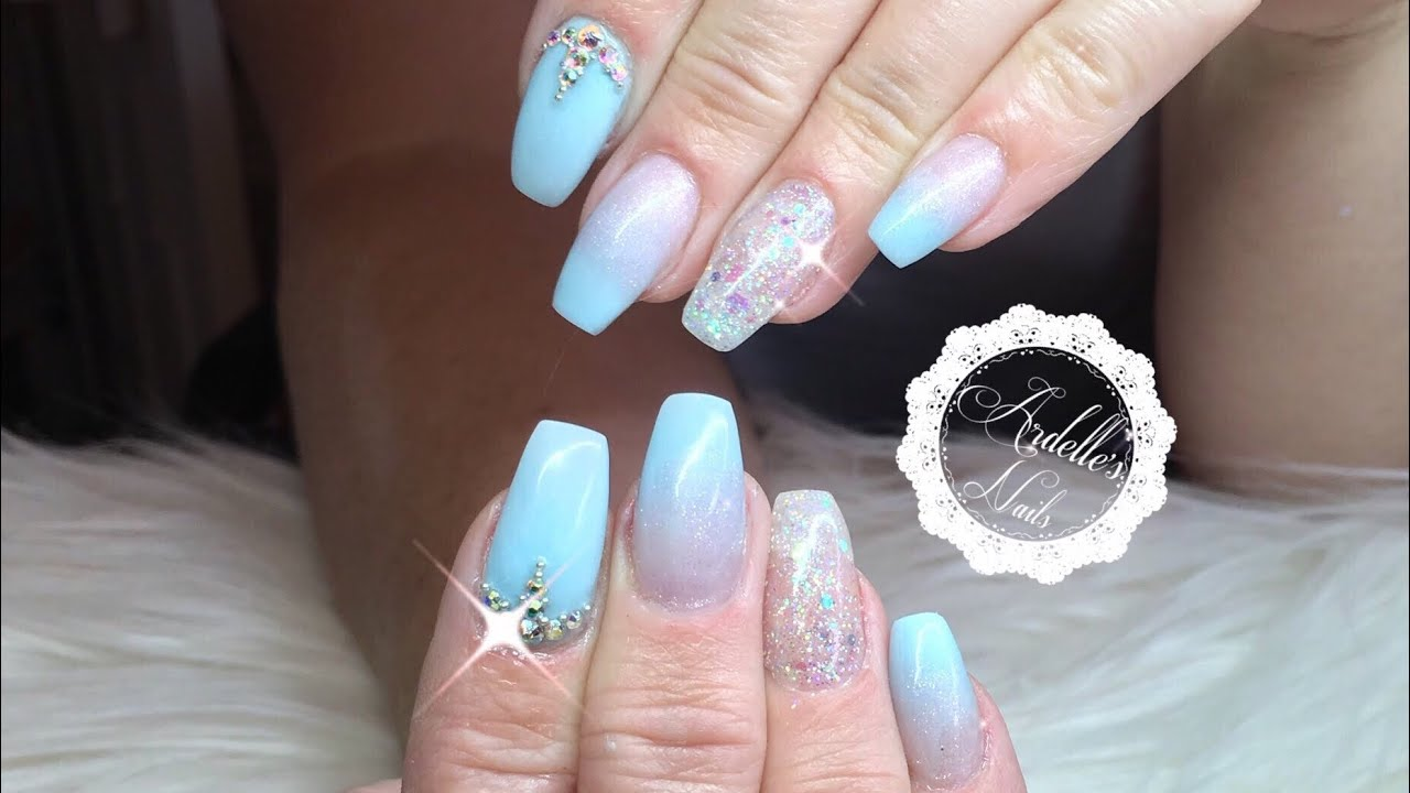 Acrylic Baby Blue Nails with Crystal Glitter Gel and Swarovski Crystals
