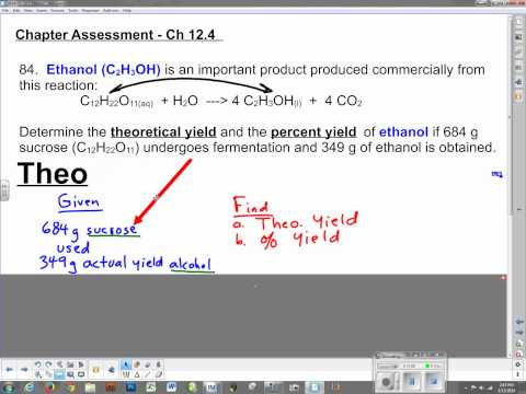 Percent Yield basics and Ch 12.3 Assessment
