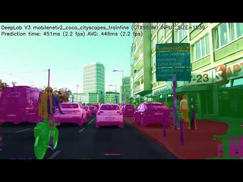 Tensorflow DeepLab v3 Mobilenet v2 Cityscapes - YouTube