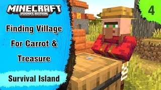 Survival Island #4 -  Finding Village For Carrot & Treasure With Map  - Minecraft PE | In Hindi