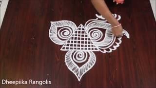 simple and easy peacock rangoli designs without dots * birds rangoli design *latest kolam designs