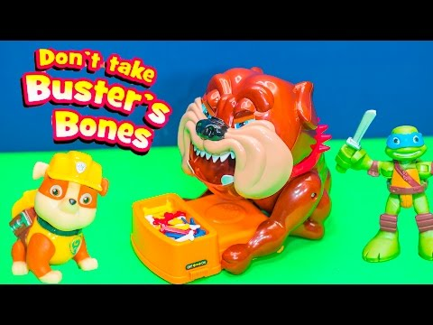 Playing Don't Take Busters Bone Game with Paw Patrol versus TMNT Toys