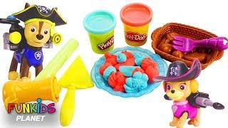 PAW PATROL Pups Feeding Baby Marshall Play Doh Pie and Ice Cream   Fun Kids Toys