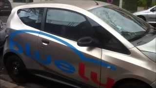 Electric car bluecar Pininfarina 360 degrees walk around th car