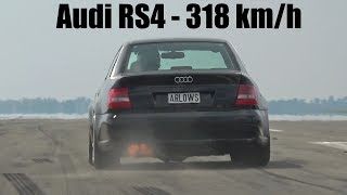 1250HP Audi S4 B5 Bi-Turbo 0-318 KM/H  LOUD START & ACCELERATIONS!