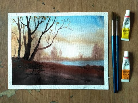 Watercolor Tree on a Lake Painting Demonstration – Paint with David