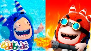 Oddbods and Hot vs Cold Challenge   Family Kids Cartoon