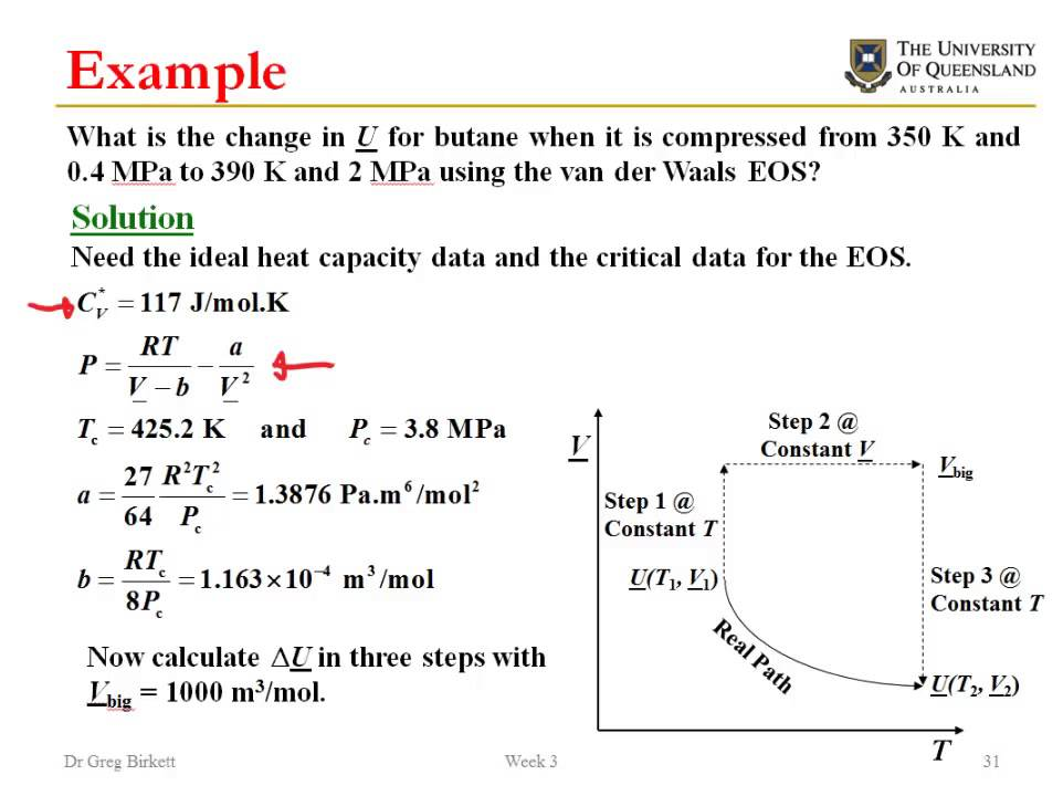 Calculating changes in internal energy from equations of ...