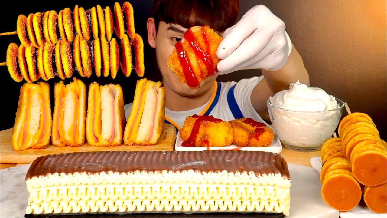 ASMR 팬케이크꼬치🥞 바삭 몬테크리스토 토스트 초코바닐라 아이스크림 먹방~! Crispy Toast 🧀 With Mini Pencake 🍫 Ice Cream MuKBang!