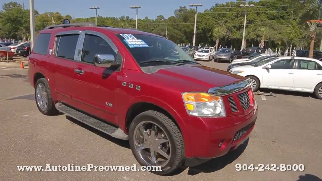 autoline preowned 2008 nissan armada for sale used walk around review test drive jacksonville. Black Bedroom Furniture Sets. Home Design Ideas