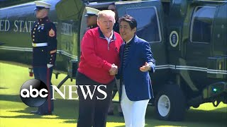 Trump plays golf with Japanese PM Shinzo Abe during 4-day state visit l ABC NEWS