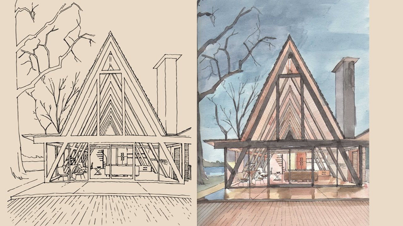 watercolor study of a modern a frame house - Modern A Frame
