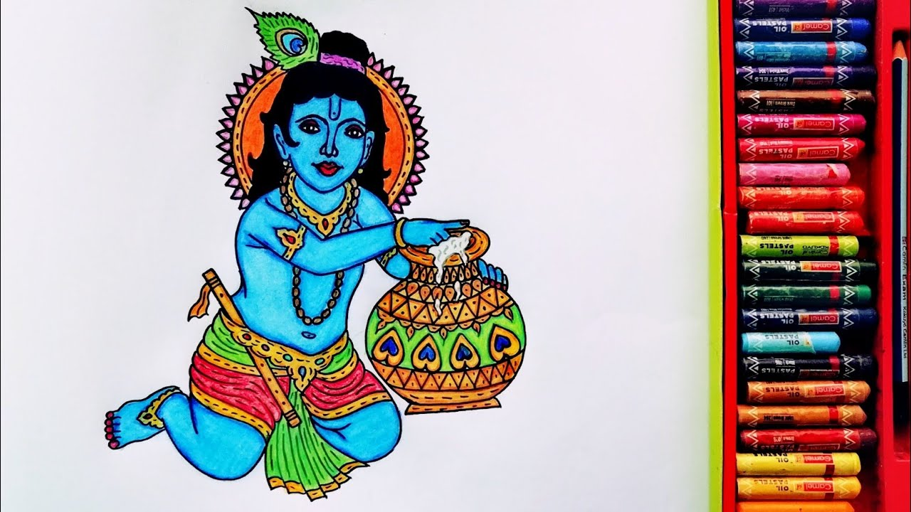 How to Draw Shri Krishna Janmashtami Time-lapse Painting | Special Drawing Of Krishna Janmashtami