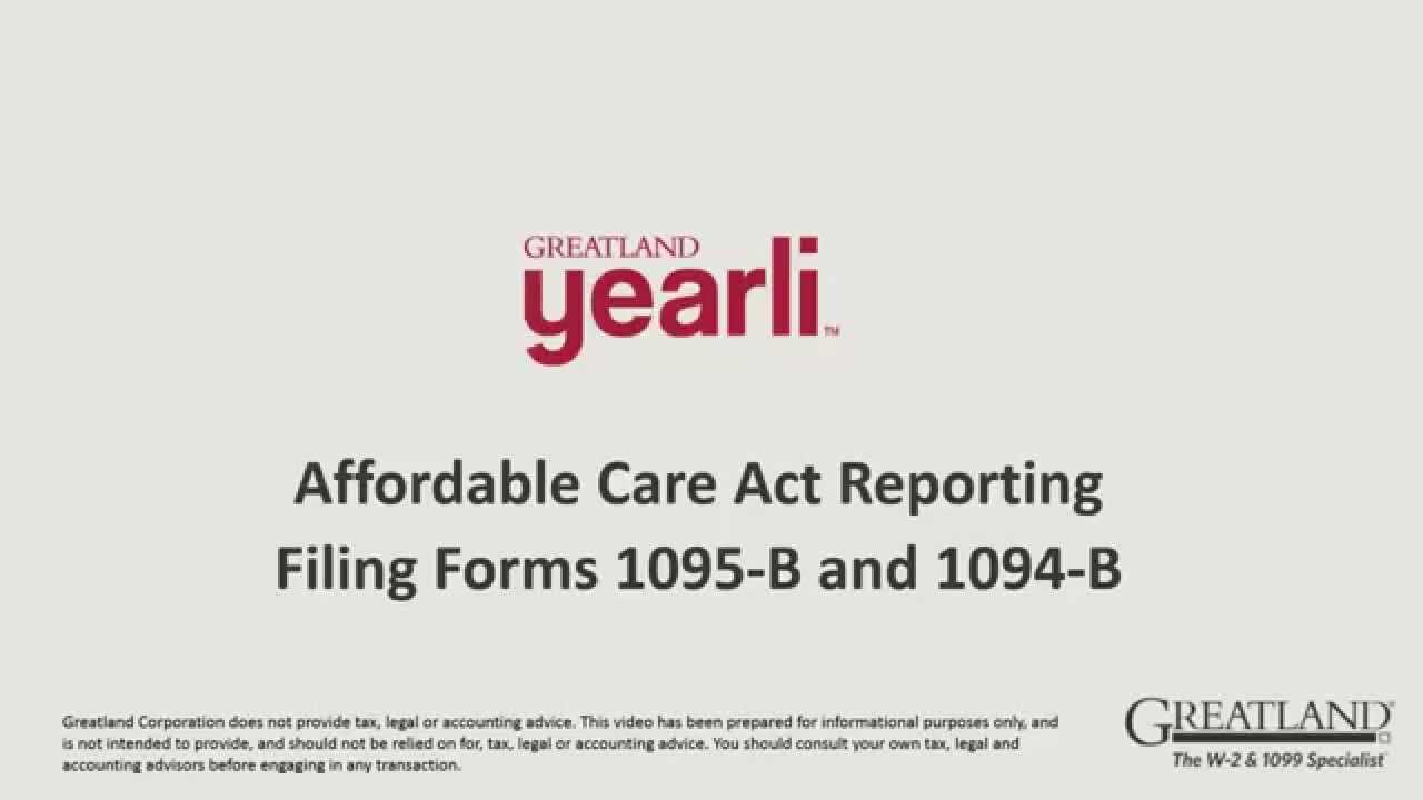 Filing ACA Forms 1095 B and 1094 B - YouTube