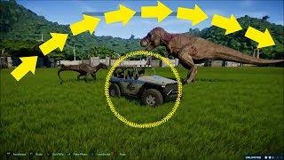 Jurassic World Jeep Jumping T Rex and Indoraptor Fight!