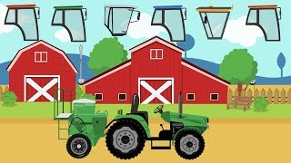 Green Tractor and Farm Machines like Plow, Combine Harvester | Colors and Cabins For Kids - Traktor
