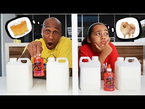 TWIN TELEPATHY SLIME CHALLENGE VS MY DAD