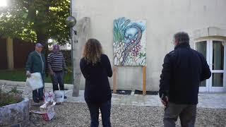 Installation des mosaïques à Plassac